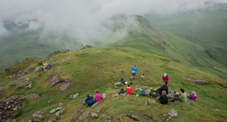 Reading poetry on Helm Crag