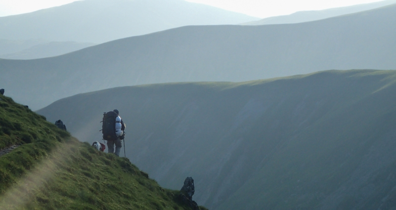 Dropping down towards Nan Bield Pass from Harter fell at the end of a very long day one