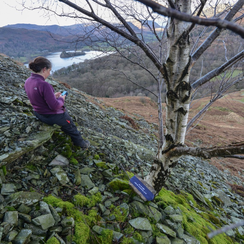 Harriet making notes after placing the sixth poem-stone above Rydal.
