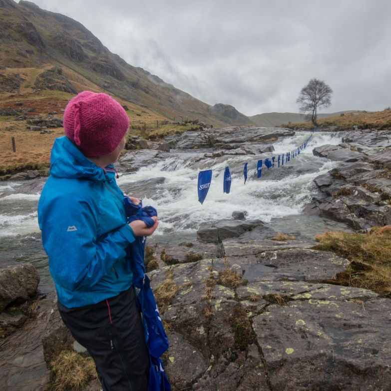 Harriet holing the line at the Langstrath Birch