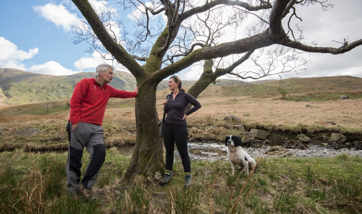 Harriet Fraser at the Trout Beck Alder with John Pring from the National Trust