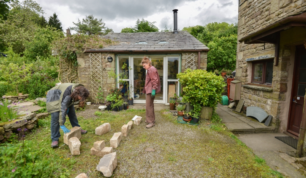 Sorting the stones with carver Pip Hall