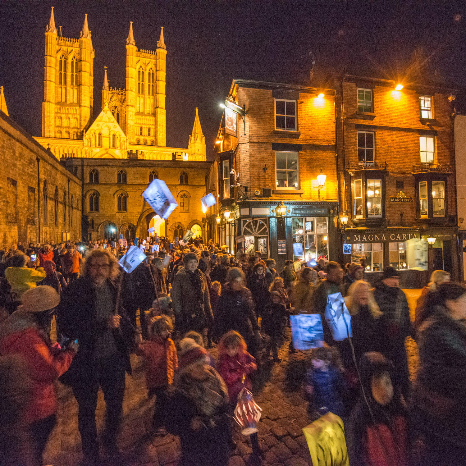 Procession to celebrate the launch of the Tree Charter in Lincoln, November 6 2017.