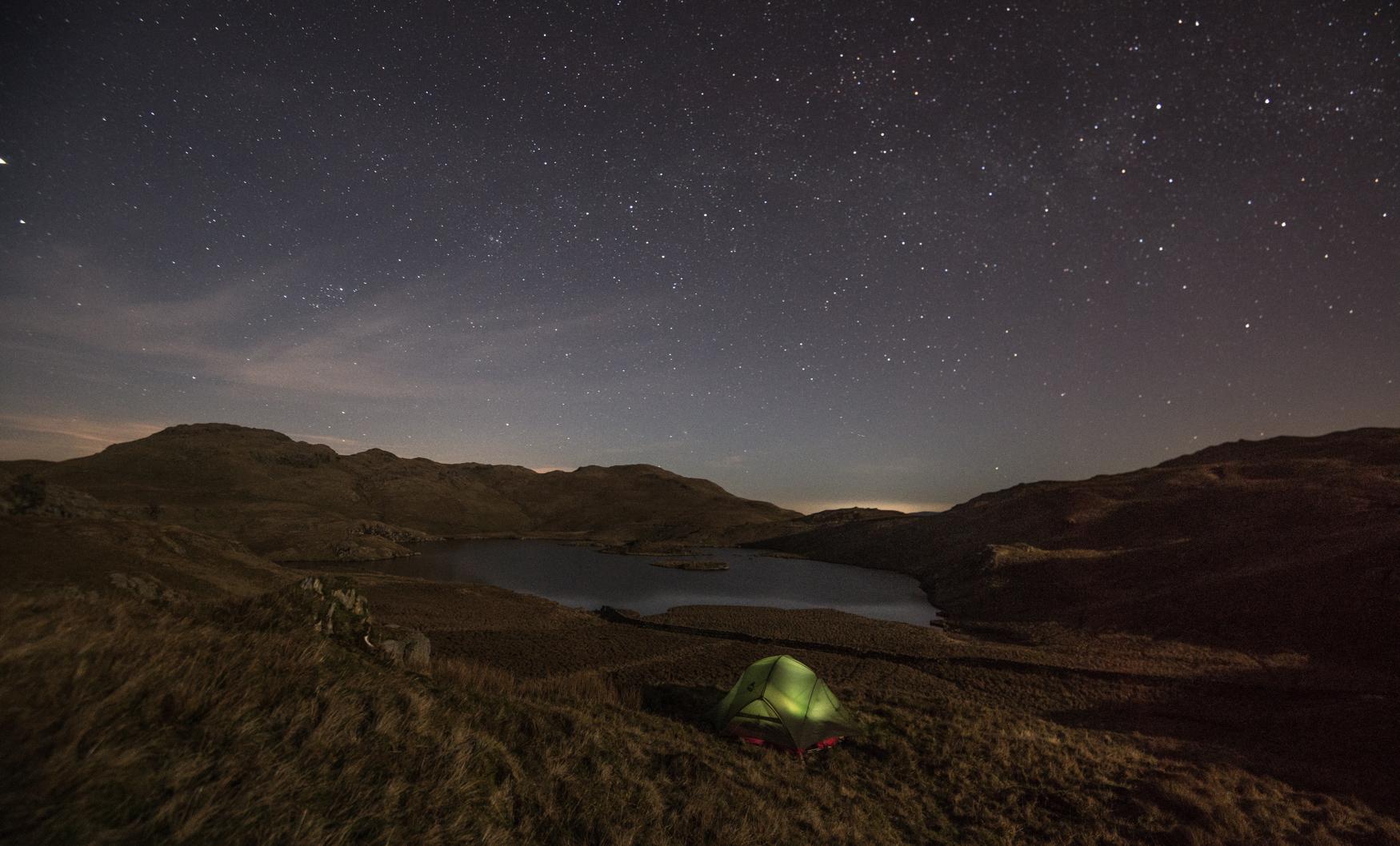 February Camp at Angle Tarn, Cumbria